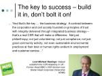 the key to success build it in don t bolt it on