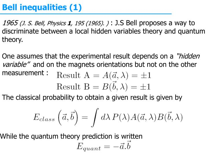 Bell inequalities (1)
