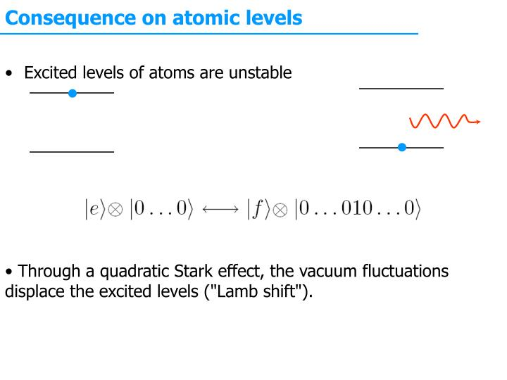 Consequence on atomic levels