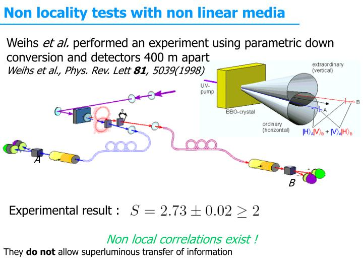 Non locality tests with non linear media