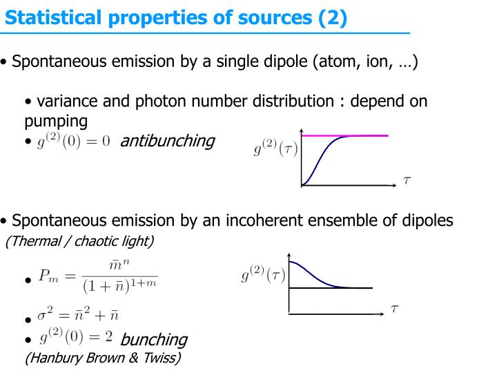 Statistical properties of sources (2)