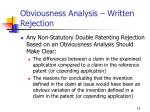 obviousness analysis written rejection