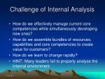 challenge of internal analysis