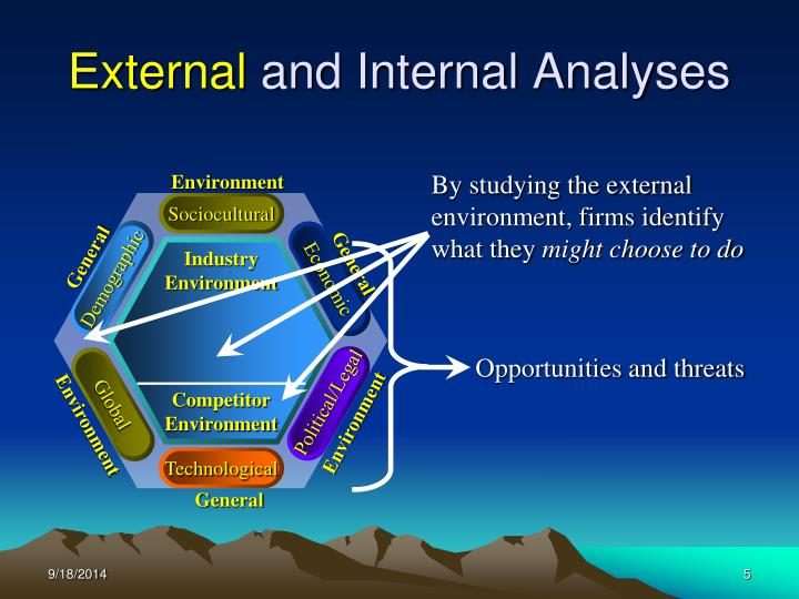 industry and external environment analysis Industry and external environment analysis - introduction companies always operate in a certain environment the formulation and implementation of business strategy are also restricted by the particular environmental factors.