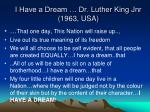 i have a dream dr luther king jnr 1963 usa