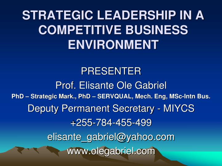 strategic leadership in a competitive business environment n.