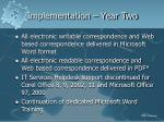 implementation year two