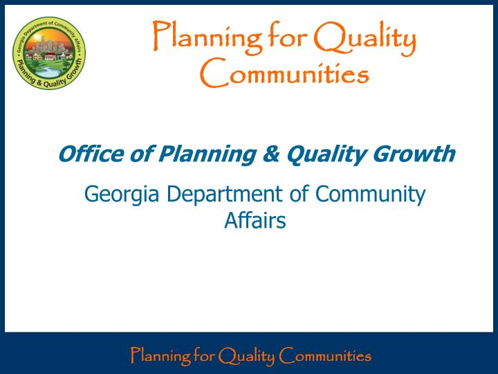 planning for quality communities n.