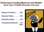 performance funding measures and weights brain gain fy2008 allocation formula