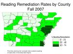 reading remediation rates by county fall 2007