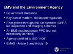 ems and the environment agency