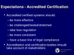 expectations accredited certification