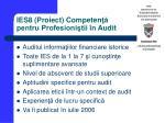 ies8 proiect competen pentru profesioni tii n audit