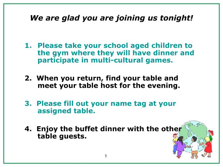 we are glad you are joining us tonight n.