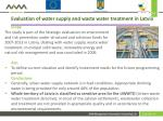 evaluation of water supply and waste water treatment in latvia