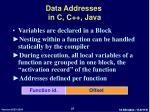 data addresses in c c java