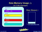 data memory usage 1 for c like languages