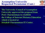 assumption university requested permission cont