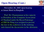open hearing cont
