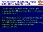 publication of elearning degree in the royal gazette cont