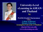 university level elearning in asean and thailand by