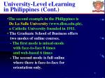 university level elearning in philippines cont
