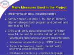 many measures used in the project