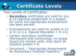 certificate level s