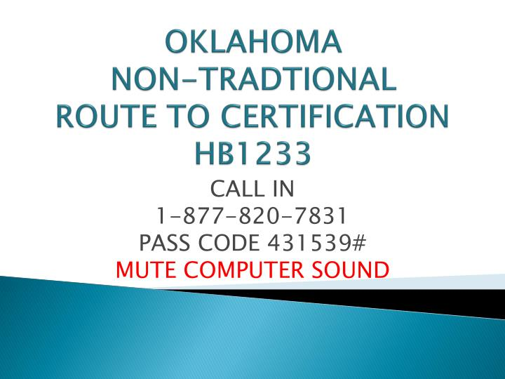 oklahoma non tradtional route to certification hb1233 n.