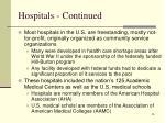 hospitals continued