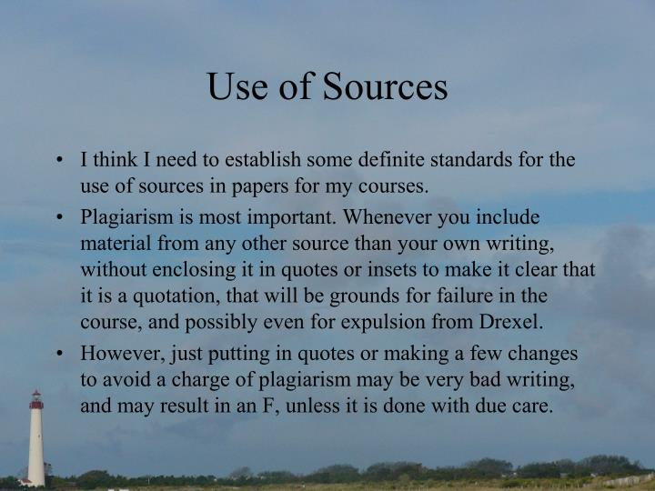 use of sources n.