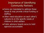 importance of identifying community partners