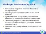 challenges in implementing tsca