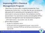 improving epa s chemical management program
