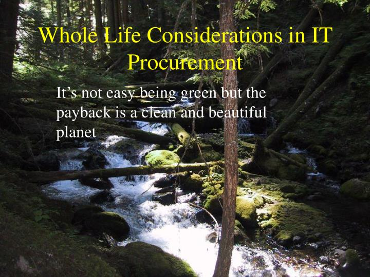 whole life considerations in it procurement n.