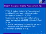 health insurance claims assessment act