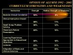 opnion of alumni 1992 2002 curriculum strengths and weaknesses