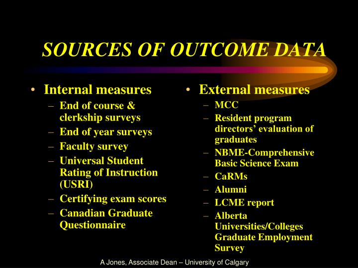 sources of outcome data n.