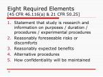 eight required elements 45 cfr 46 116 a 21 cfr 50 25