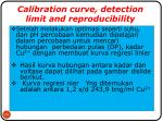 calibration curve detection limit and reproducibility