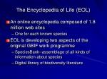 the encyclopedia of life eol