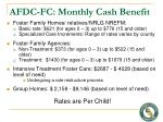 afdc fc monthly cash benefit