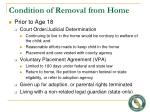 condition of removal from home