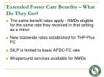 extended foster care benefits what do they get