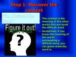 step 1 discover the context