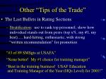 other tips of the trade