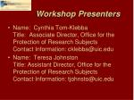 workshop presenters