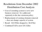 resolutions from december 2002 distribution cost analysis