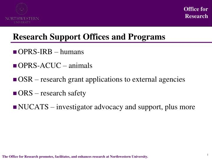 research support offices and programs n.