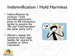 indemnification hold harmless